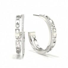 Boucles d'oreilles créoles diamant serti pavé