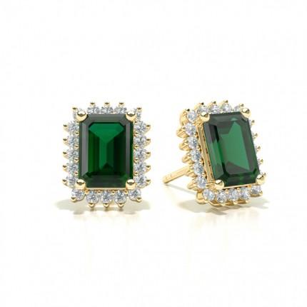 Prong Setting Emerald Stud Earring
