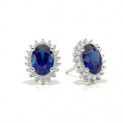 Prong Setting Oval Blue Sapphire Stud Earring