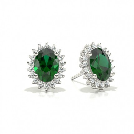 Prong Setting Oval Emerald Stud Earring