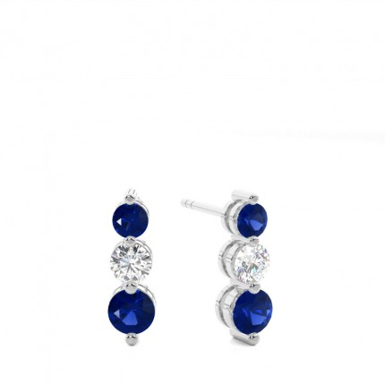 2 Zinkeneinstellung runde blaue Saphir-Ohrringe