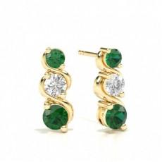 2 Zinkeneinstellung Smaragd-Ohrringe