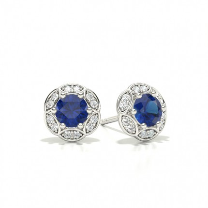 Prong Setting Round Blue Sapphire Stud Earring
