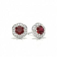 Platinum Ruby Earrings