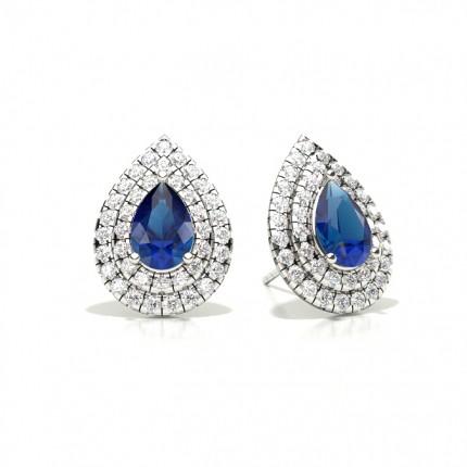 Prong Setting Pear Blue Sapphire Halo Stud Earring