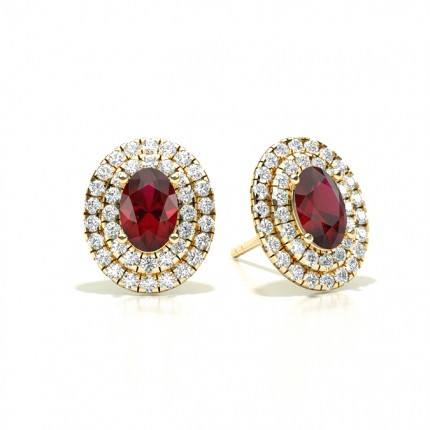 Prong Setting Oval Ruby Halo Stud Earring