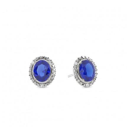 4-Stift-Einstellung Ovaler blauer Saphir-Halo-Ohrring