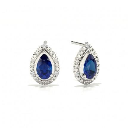 3 Prong Setting Pear Blue Sapphire Halo Earring