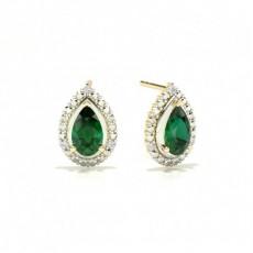 3 Prong Setting Pear Emerald Halo Earring