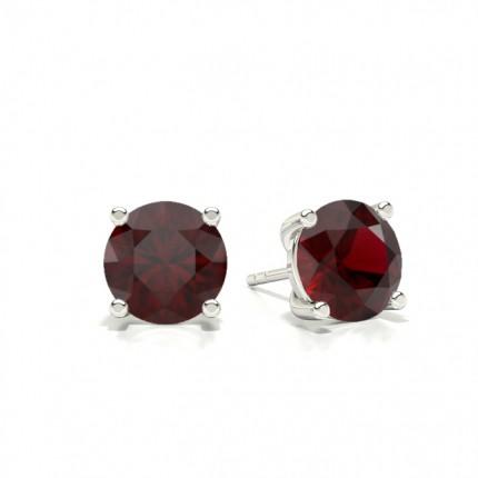 Prong Setting Pear Ruby Stud Earring