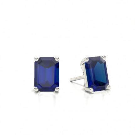 4 Zinkeneinstellung runder blauer Saphir-Ohrstecker