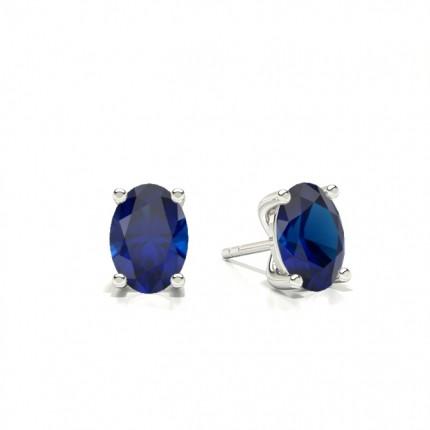 4 Zinkeneinstellung Oval Blue Sapphire Stud Earring