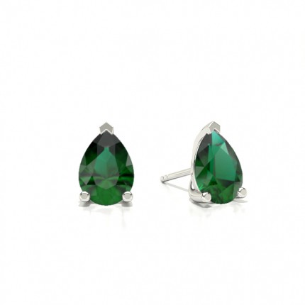 Prong Setting Princess Emerald Stud Earring
