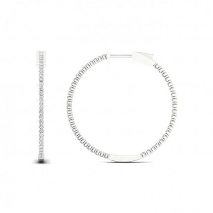 Micro Prong Setting Round Diamond Hoop Earrings