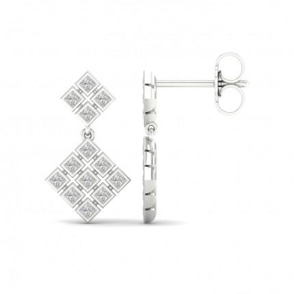 Full Bezel Setting Princess Diamond Drop Earrings