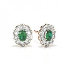 Rose Gold Emerald Earrings
