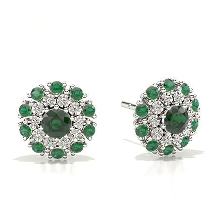 Prong Setting Emerald Halo Stud Earring