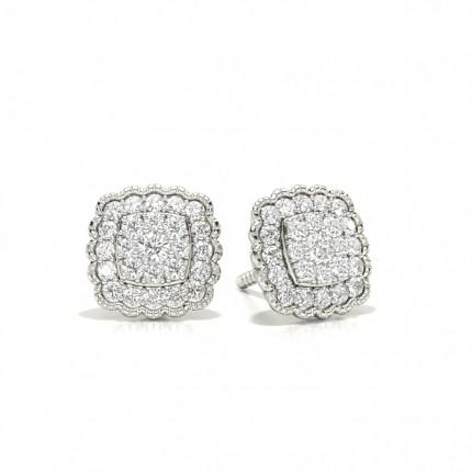 Gemeinsame Zinkeneinstellung runde Diamant-Cluster-Ohrringe