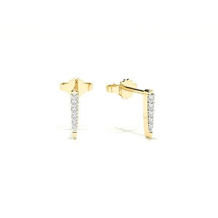 Plate Prong Setting Round Diamond Stud Earring