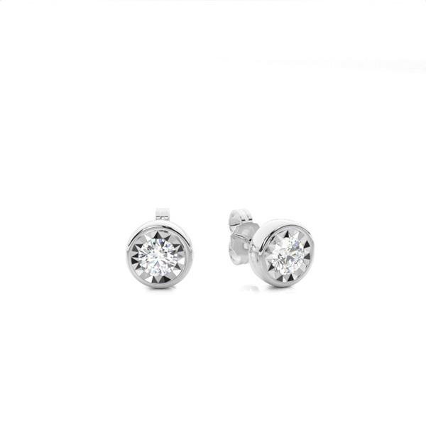 Illusion Plate Prong Setting Round Stud Diamond Earrings