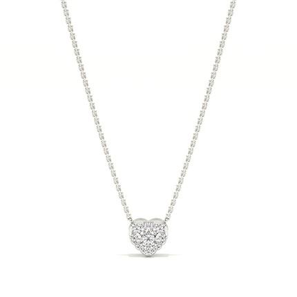 Micro Prong Setting Diamond Heart Necklace