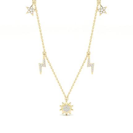 Collier design diamant rond serti griffes