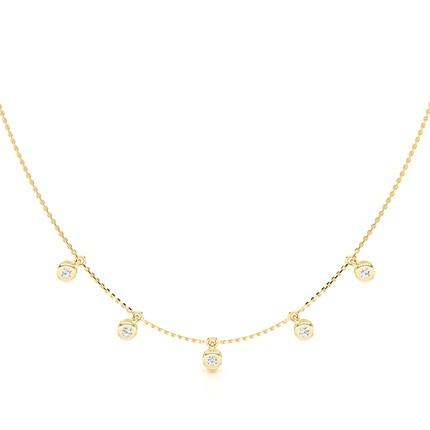 Bezel Setting Round Diamond Delicate Necklace