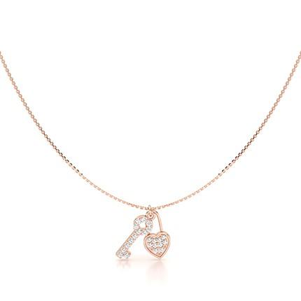Geteilte Zinkeneinstellung Runde Diamant Zarte Halskette