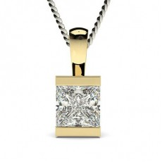 Yellow Gold Solitaire Pendants Necklaces