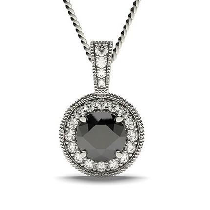 4 Prong Setting Halo Black Diamond Pendant