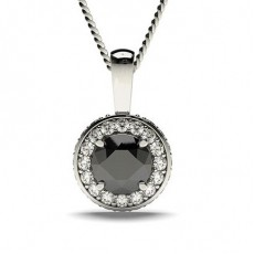 Weißgold Schwarze Diamant Anhänger Halsketten