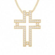 Gelbgold Kreuze Anhänger Halsketten