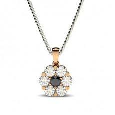 Rose Gold Black Diamond Pendants Necklaces