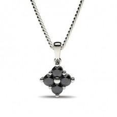 Round Black Diamond Pendants Necklaces