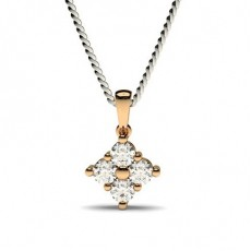 Rose Gold Cluster Pendants Necklaces