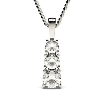 4 Prong Setting Round Diamond Journey Pendant
