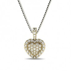 Yellow Gold Heart Pendants Necklaces