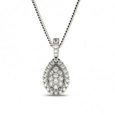 Platinum Cluster Pendants Necklaces