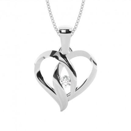 Full Bezel Setting Round Diamond Heart Pendant