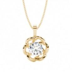 Yellow Gold Delicate Diamond Pendants Necklaces