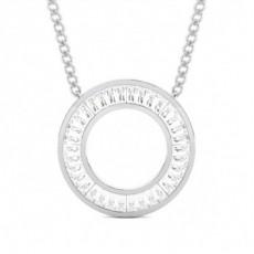 Channel Setting Baguette Diamond Circle Pendant