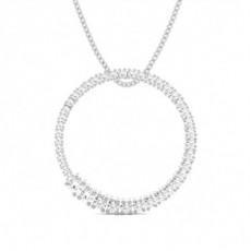 4 Prong Setting Round Diamond Circle Pendant