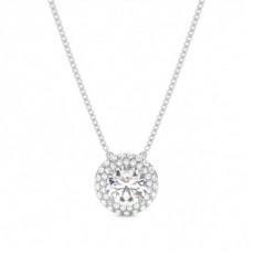 Round Halo Pendants Necklaces
