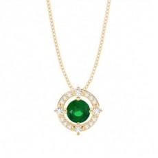 Yellow Gold Gemstone Pendants Necklaces