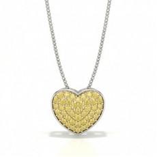 Gelber Diamant Cluster Herz Anhänger