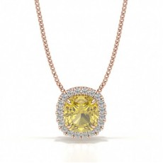 Rotgold Gelber Diamant Anhänger Halsketten