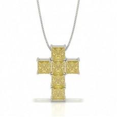 Gelber Diamant Kreuz Anhänger
