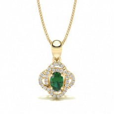 Yellow Gold Halo Pendants Necklaces