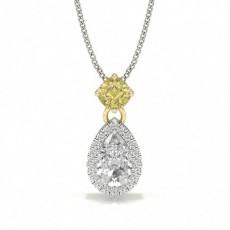 Gelber Diamant Halo Designer Anhänger