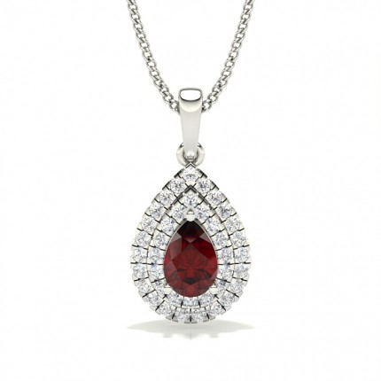 Prong Setting Pear Ruby Halo Pendent